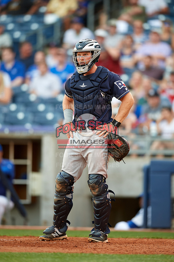 San Antonio Missions catcher Stephen McGee (9) during a game against the Tulsa Drillers on June 1, 2017 at ONEOK Field in Tulsa, Oklahoma.  Tulsa defeated San Antonio 5-4 in eleven innings.  (Mike Janes/Four Seam Images)