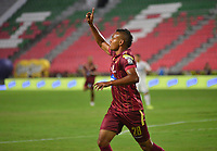 IBAGUE - COLOMBIA, 23-01-2020:Luis Miranda del Tolima celebra después de anotar el primer gol de su equipo partido entre Deportes Tolima y Deportivo Independiente Medellin por la fecha 1 de la Liga BetPlay I 2020 jugado en el estadio Manuel Murillo Toro de la ciudad de Ibagué. / Luis Miranda of Tolima celebrates after scoring the first goal of his team during match between Deportes Tolima and Deportivo Independiente Medellin for the date 1 as part of BetPlay League I 2020 played at Manuel Murillo Toro stadium in Ibague. Photo: VizzorImage / Juan Carlos Escobar / Cont /