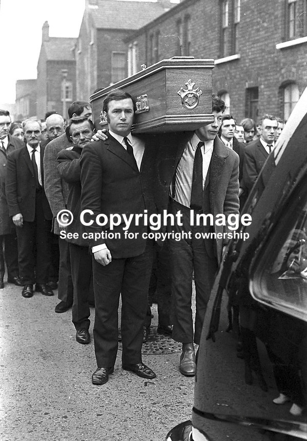 One of the funerals of four Provisional IRA members killed in car explosion on the Knock Dual Carriageway, Belfast, presumably on their way to a bombing target. The dead men were Gerard Steele, Gerard Bell, Joseph Magee and Robert Dorrian, all from the Short Strand area of Belfast, from where the funerals went to Milltown Cemetry. NI Troubles. Ref: 19720223002.<br />