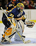 16 November 2008: Merrimack College Warriors' goaltender Andrew Braithwaite, a Junior from Kingston, Ontario, in action against the University of Vermont Catamounts at Gutterson Fieldhouse, in Burlington, Vermont. The Catamounts defeated the Warriors 2-1 in front of a near-capacity crowd of 3,813...Mandatory Photo Credit: Ed Wolfstein Photo
