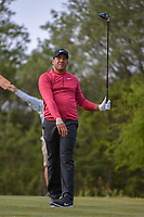 Jhonattan Vegas (VEN) watches his tee shot on 15 during Round 1 of the Valero Texas Open, AT&amp;T Oaks Course, TPC San Antonio, San Antonio, Texas, USA. 4/19/2018.<br /> Picture: Golffile | Ken Murray<br /> <br /> <br /> All photo usage must carry mandatory copyright credit (&copy; Golffile | Ken Murray)