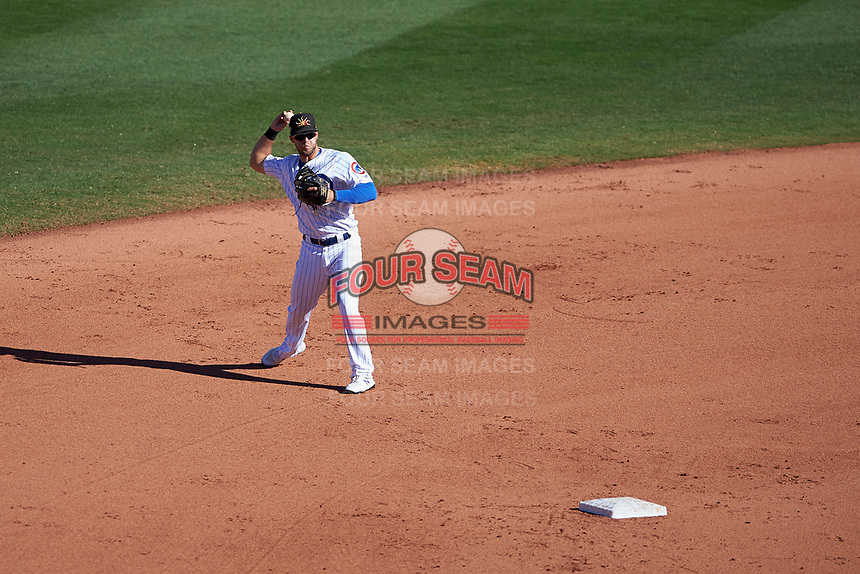 Mesa Solar Sox second baseman David Bote (15), of the Chicago Cubs organization, at bat during an Arizona Fall League game against the Scottsdale Scorpions on October 24, 2017 at Sloan Park in Mesa, Arizona. The Scorpions defeated the Solar Sox 3-1. (Zachary Lucy/Four Seam Images)