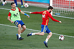 Spain's Nacho Fernandez (r) and Cesar Azpilicueta during training session. March 20,2017.(ALTERPHOTOS/Acero)