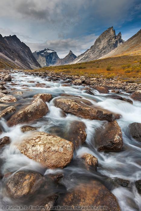 Morning light on Xanadu, Arial and Caliban peaks, Arrigetch creek, Gates of the Arctic National Park, Alaska.