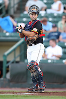 Rochester Red Wings Catcher Allan de San Miguel during a game vs. the Columbus Clippers at Frontier Field in Rochester, New York;  June 21, 2010.   Rochester defeated Columbus 2-1.  Photo By Mike Janes/Four Seam Images