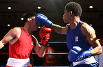 Efren Lopez, left, and Shakur Stevenson compete in the U.S. Olympic Boxing Trials in Reno, Nev., on Wednesday, Dec. 9, 2015. (AP Photo/Cathleen Allison)