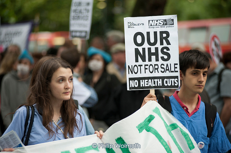 Kill Lansley's Bill. Our Health Service Not for Sale march to save the NHS, London.