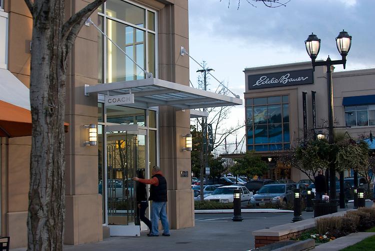 Seattle, University Village, High-end shopping center, University district neighborhood, suburban north Seattle, Washington State, Pacific Northwest, USA,