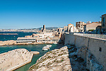 Entrance to Vallon des Auffes, a fishing village with an arch road bridge in the suburb of Marseille, France