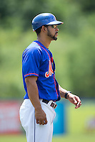 Kingsport Mets manager Luis Rivera (9) coaches third base during the game against the Greeneville Astros at Hunter Wright Stadium on July 7, 2015 in Kingsport, Tennessee.  The Mets defeated the Astros 6-4. (Brian Westerholt/Four Seam Images)