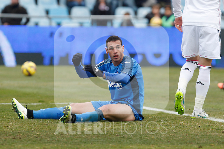 Getafe´s Alvaro regrets during La Liga match at Coliseum Alfonso Perez stadium  in Getafe, Spain. January 18, 2015. (ALTERPHOTOS/Victor Blanco)
