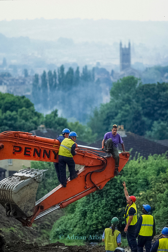 Private security attempt to remove Deshan from a digger .<br /> Solsbury Hill road protest.
