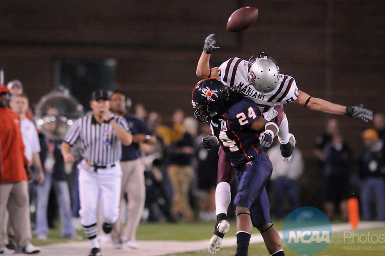 19 DEC 2008: Marc Mariani (80) of Montana Jumps for a ball while Seth Williams (24) of Richmond moves in for the tackle during the 2008 Division I Men's Football Championship held at Finley Stadium-Davenport Field in Chattanooga, TN. Richmond defeated Montana 24-7 for the national title. Stephen Nowland/NCAA Photos
