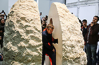 PARIS, FRANCE - 22/02/2017<br /> HUIT JOURS AU COEUR D'UN ROCHER, LE NOUVEAU DEFI D'ABRAHAM POINCHAVEL AU PALAIS DE TOKYO. # ABRAHAM POINCHEVAL 'PIERRE' PERFORMANCE