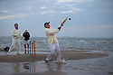 11/09/14 <br /> <br /> ***Caption Correction  - Cowes not Ryde as in previous****<br /> <br /> Rival teams from the Royal Southern Yacht Club and The Island Sailing Club compete in a game of cricket on the Brambles Bank sandbank at dawn. The sandy wicket only appears for a few minutes on the lowest tide of the year in the middle of the Solent between Cowes and Southampton.<br /> <br /> All Rights Reserved - F Stop Press.  www.fstoppress.com. Tel: +44 (0)1335 300098