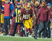 Washington Redskins wide receiver Pierre Garcon (88) runs with the ball after making a catch to help set-up the game-winning field goal against the Philadelphia Eagles at FedEx Field in Landover, Maryland on Saturday, December 20, 2014.  The Redskins won the game 27 - 24.<br /> Credit: Ron Sachs / CNP
