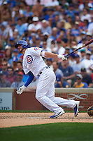 Chicago Cubs third baseman Kris Bryant (17) at bat during a game against the Milwaukee Brewers on August 13, 2015 at Wrigley Field in Chicago, Illinois.  Chicago defeated Milwaukee 9-2.  (Mike Janes/Four Seam Images)