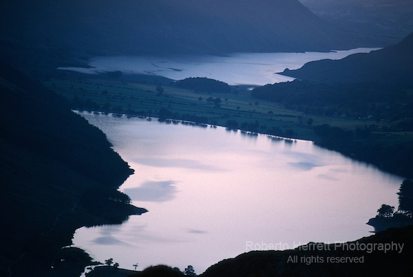 Late evening on Buttermere and Crummock Water viewed from Haystacks, Cumbria Lake District, England UK
