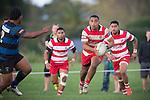 Siulongoua Fotofili makes a run across field as he looks for attacking options. Counties Manukau Premier Club Rugby game between Karaka and Onewhero, played at Karaka, on Saturday April 26 2014. Karaka won the game 26 - 23 after trailing 7 - 8 at halftime  Photo by Richard Spranger
