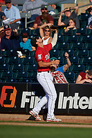 Billings Mustangs first baseman Leonardo Seminati (11) catches a pop fly in foul territory during a Pioneer League game against the Grand Junction Rockies at Dehler Park on August 15, 2019 in Billings, Montana. Billings defeated Grand Junction 11-2. (Zachary Lucy/Four Seam Images)