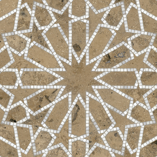 Castilla, a waterjet and hand-cut stone mosaic shown in honed Jura Grey and polished Calacatta Tia is part of the Miraflores collection by Paul Schatz for New Ravenna.