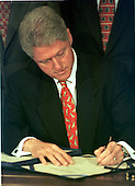 United States President Bill Clinton signs the Drug-Free Communities Act of 1997 at the White House in Washington, D.C. on June 27, 1997. .Credit: Ron Sachs / CNP.
