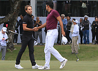 Joakim Lagergren (SWE) and Julian Suri (USA) on the 18th green during Round 3 of the UBS Hong Kong Open, at Hong Kong golf club, Fanling, Hong Kong. 25/11/2017<br /> Picture: Golffile | Thos Caffrey<br /> <br /> <br /> All photo usage must carry mandatory copyright credit     (&copy; Golffile | Thos Caffrey)