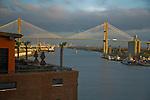 Sunrise on the Savannah River and Savannah River Bridge