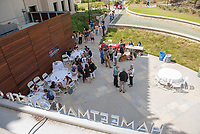 Break outside the Hammetman Career Center of AGC. Occidental College hosts TEDxOccidentalCollege on April 21, 2018 in Choi Auditorium of Johnson Hall. Students, faculty, alums and guest speakers delivered their TEDx Talk on the theme, Shifting Ecosystems of Power.<br /> (Photo by Marc Campos, Occidental College Photographer)