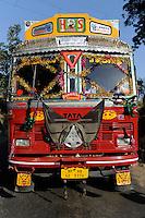 "Südasien Asien Indien IND , bemalter und geschmueckter TATA Lastwagen auf Strasse.| .South Asia India , colorful and painted TATA truck on the road.  -  transport vehicle .| [ copyright (c) Joerg Boethling / agenda , Veroeffentlichung nur gegen Honorar und Belegexemplar an / publication only with royalties and copy to:  agenda PG   Rothestr. 66   Germany D-22765 Hamburg   ph. ++49 40 391 907 14   e-mail: boethling@agenda-fototext.de   www.agenda-fototext.de   Bank: Hamburger Sparkasse  BLZ 200 505 50  Kto. 1281 120 178   IBAN: DE96 2005 0550 1281 1201 78   BIC: ""HASPDEHH"" ,  WEITERE MOTIVE ZU DIESEM THEMA SIND VORHANDEN!! MORE PICTURES ON THIS SUBJECT AVAILABLE!! INDIA PHOTO ARCHIVE: http://www.visualindia.net ] [#0,26,121#]"