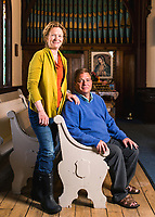 Reverend Ali Lufkin (left) and her husband George Lufkin at the St. George Episcopal Church in Leadville, Colorado, Thursday, May 11, 2017. Leadville, which has historically been a home for low income residents who work in higher income towns, is beginning to see signs of development and high prices.<br /> <br /> Photo by Matt Nager