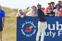 Hideto Tanihara (JPN) tees off the 2nd tee during Thursday's Round 1 of the Dubai Duty Free Irish Open 2019, held at Lahinch Golf Club, Lahinch, Ireland. 4th July 2019.<br /> Picture: Eoin Clarke | Golffile<br /> <br /> <br /> All photos usage must carry mandatory copyright credit (© Golffile | Eoin Clarke)