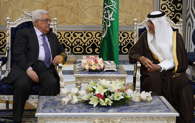 Palestinian President Mahmoud Abbas (Abu Mazen) during his arriving to Jeddah and meeting the Prince of Mecca, Khalid Al Faisal in Jeddah on August 4,2010. Photo by Thaer Ganaim