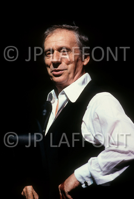 Olympia, Paris - October 2, 1981. Yves Montand rehearsing at the Olympia Theater. Yves Montand (October 13, 1921 - November 9, 1991) was an Italian-born French actor and singer, who was discovered by renown singer ´Edith Piaf, and is most known for his performance in the movie Jean de Florette.