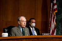 """United States Senator Chuck Grassley (Republican of Iowa) speaks during a Senate Judiciary Committee Hearing """"to examine COVID-19 fraud, focusing on law enforcement's response to those exploiting the pandemic"""" on Capitol Hill in Washington, DC on June 9, 2020. <br /> Credit: Erin Schaff / Pool via CNP/AdMedia"""