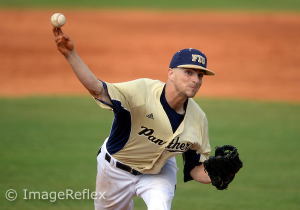 Florida International University right handed pitcher Chris Elander (1) plays against University of Louisiana-Lafayette which won the game 9-1 on April 27, 2013 at Miami, Florida.