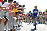 Julian Alaphilippe (FRA) Quick-Step Floors arrives at sign on before the start of Stage 2 of the 2018 Tour de France running 182.5km from Mouilleron-Saint-Germain to La Roche-sur-Yon, France. 8th July 2018. <br /> Picture: ASO/Alex Broadway | Cyclefile<br /> All photos usage must carry mandatory copyright credit (&copy; Cyclefile | ASO/Alex Broadway)