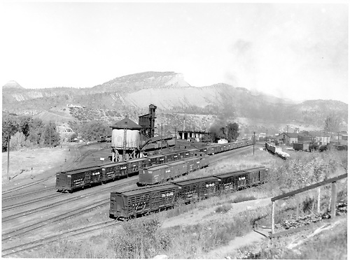 D&amp;RGW Durango south yard with several stock &amp; box cars.  Stock #5754, #5671, #5714, #5608; Box #3737.<br /> D&amp;RGW  Durango, CO