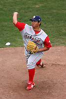 September 6 2008:  Pitcher Yen-Feng Lin of the Williamsport Crosscutters, Class-A affiliate of the Philadelphia Phillies, during a game at Russell Diethrick Park in Jamestown, NY.  Photo by:  Mike Janes/Four Seam Images
