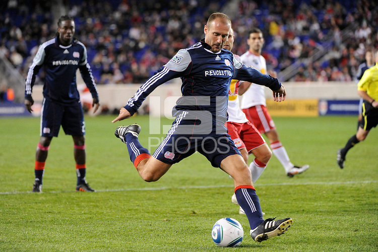 Ilija Stolica (9) of the New England Revolution. The New York Red Bulls defeated the New England Revolution 2-0 during a Major League Soccer (MLS) match at Red Bull Arena in Harrison, NJ, on October 21, 2010.
