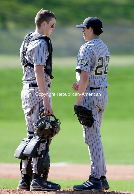 WATERTOWN, CT- 30 APRIL 07- 043007JT12-<br /> Woodland catcher Jason Skibek talks to pitcher Steve Corbett during Monday's game at Deland Field against Watertown in Watertown. Woodland won 7-3.<br /> Josalee Thrift Republican-American