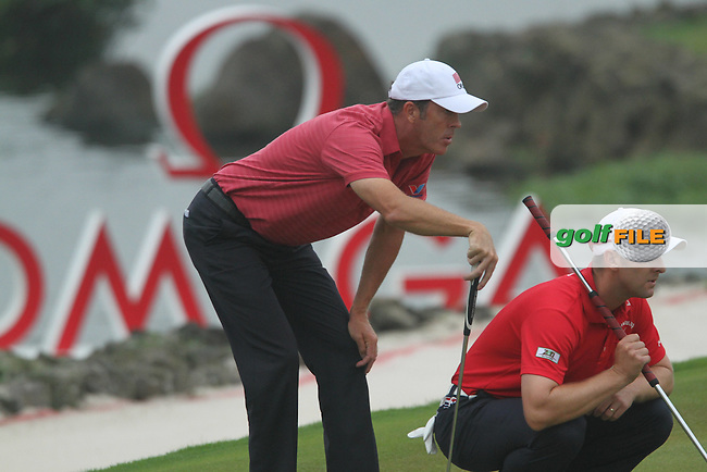 Richard Green and Brendan Jones of Australia  during the second round of the Omega Mission Hills World Cup played at The Blackstone Course, Mission Hills Golf Club on November 25th in Haikou, Hainan Island, China..Picture Phil Inglis www.golffile.ie