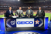 HOUSTON - OCTOBER 23: Kevin Burkhardt, Alex Rodriguez, David Ortiz, and Frank Thomas at World Series Game 2: Washington Nationals at Houston Astros on Fox Sports at Minute Maid Park on October 23, 2019 in Houston, Texas. (Photo by Frank Micelotta/Fox Sports/PictureGroup)
