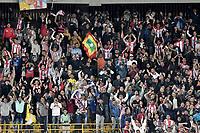 BOGOTA - COLOMBIA -06 -08-2017: Hinchas de Junior animan a su equipo durante el encuentro entre Millonarios y Atlético Junior por la fecha 6 de la Liga Aguila II 2017 jugado en el estadio Nemesio Camacho El Campin de la ciudad de Bogota. / Fans of Junior cheer for their team during match between Millonarios and Atletico Junior for the date 6 of the Liga Aguila II 2017 played at the Nemesio Camacho El Campin Stadium in Bogota city. Photo: VizzorImage / Gabriel Aponte / Staff.