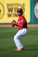 Billings Mustangs Quin Cotton (6) throws a football before a Pioneer League game against the Grand Junction Rockies at Dehler Park on August 15, 2019 in Billings, Montana. Billings defeated Grand Junction 11-2. (Zachary Lucy/Four Seam Images)
