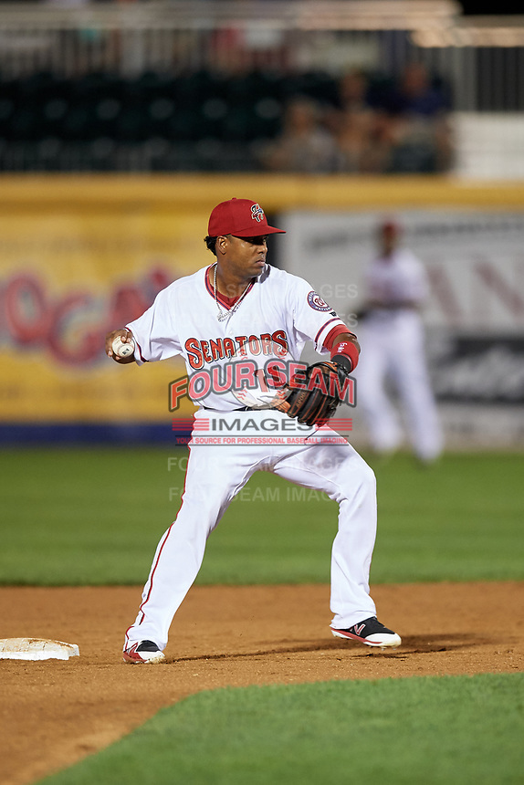 Harrisburg Senators second baseman Osvaldo Abreu (11) turns a double play during a game against the Erie SeaWolves on August 29, 2018 at FNB Field in Harrisburg, Pennsylvania.  Harrisburg defeated Erie 5-4.  (Mike Janes/Four Seam Images)