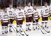 Cam Atkinson (BC - 13), Kevin Hayes (BC - 12), Pat Mullane (BC - 11), Jimmy Hayes (BC - 10), Barry Almeida (BC - 9), Edwin Shea (BC - 8) - The Boston College Eagles defeated the visiting Merrimack College Warriors 3-2 on Friday, October 29, 2010, at Conte Forum in Chestnut Hill, Massachusetts.