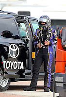 Apr 26, 2014; Baytown, TX, USA; NHRA funny car driver Alexis DeJoria during qualifying for the Spring Nationals at Royal Purple Raceway. Mandatory Credit: Mark J. Rebilas-USA TODAY Sports