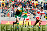 Brian Friel Kerry in action against Simon McErlain Derry in the All-Ireland Minor Footballl Final in Croke Park on Sunday.