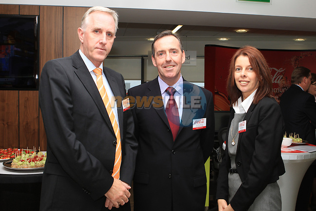 Dermot Clohessy, IDA Ireland, Bill Jackson, CPS Ireland General Manager with Joy Mooney, IDA Ireland at the Official Opening of Coca Cola Global Business Services Finance Operation for Europe and Eurasia in Southgate Shopping Centre 28/10/11..(Photo credit should read Jenny Matthews www.newsfile.ie)....This Picture has been sent you under the conditions enclosed by:.Newsfile Ltd..The Studio,.Millmount Abbey,.Drogheda,.Co Meath..Ireland..Tel: +353(0)41-9871240.Fax: +353(0)41-9871260.GSM: +353(0)86-2500958.email: pictures@newsfile.ie.www.newsfile.ie.